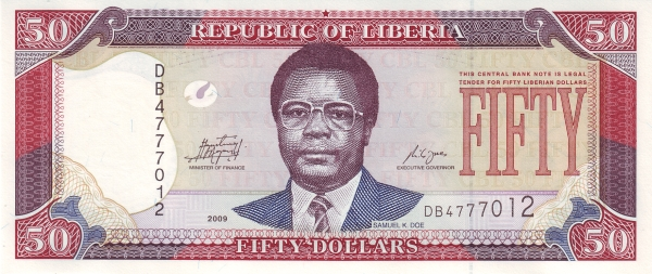 the banknote of Liberia